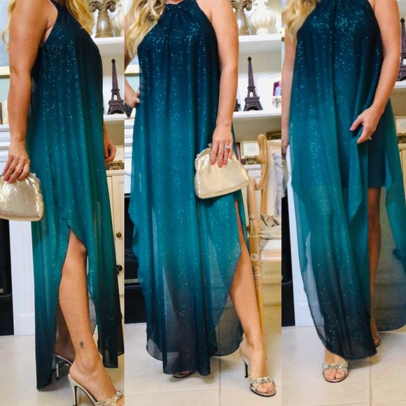 21d0a9c6 VENUS Ombré glitter long dress size medium teal. M_5c360db1035cf11b11fa1567